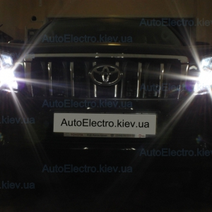 Toyota LC150  Prado установка штатных ДХО, штатной магнитолы, камеры переднего вида